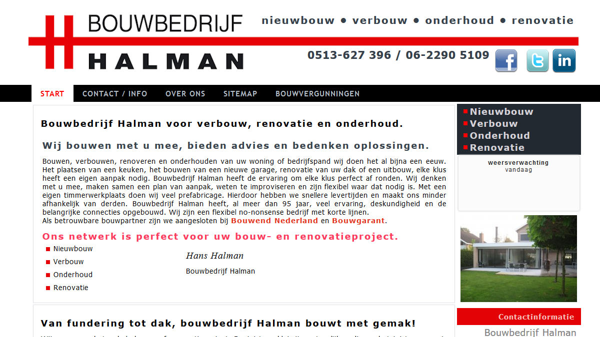 Bouwbedrijf Halman voor verbouw, renovatie en onderhoud.
