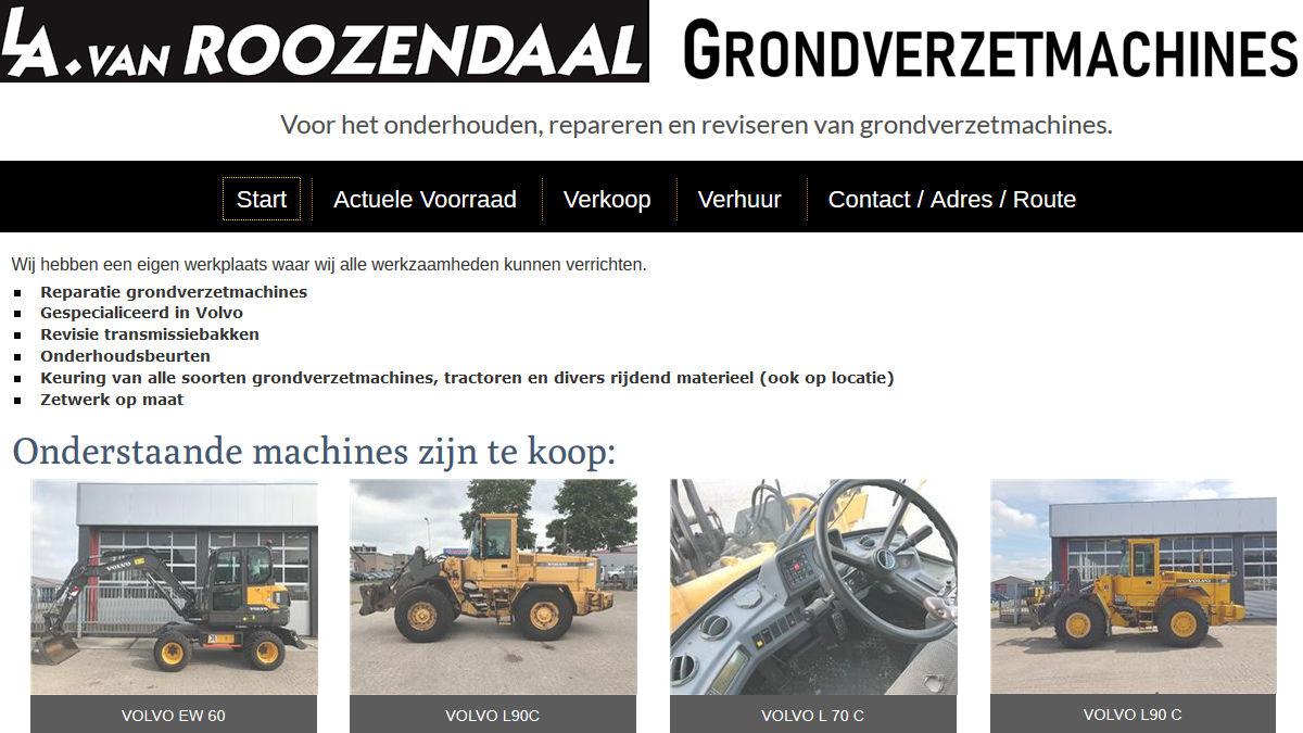 LA van Roozendaal, voor het onderhouden, repareren en reviseren van grondverzetmachines.