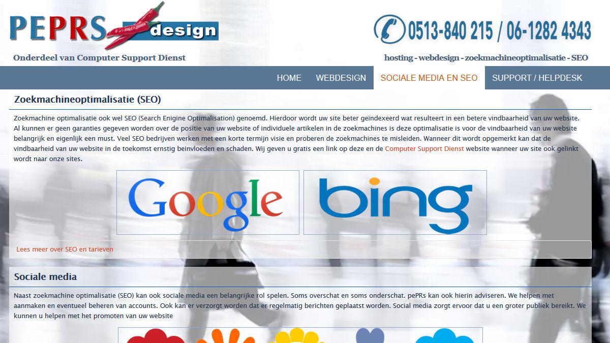 pePRs hosting - webdesign - zoekmachineoptimalisatie - SEO